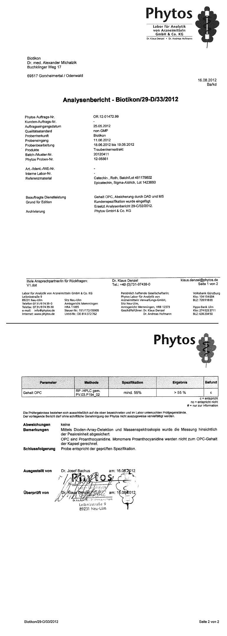 certifikat analyzy opc